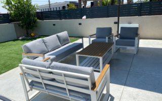 ריהוט גן- מערכת ישיבה אלומיניום יוקרתית בשילוב Polywood דגם אביב