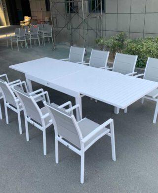 """שולחן אלומיניום אל חלד נפתח ל270 ס""""מ + 4 כסאות דגם לואיז"""