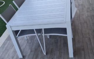 """שולחן לגינה דגם פורטוגל נפתח ל300 ס""""מ כולל 6 כסאות"""