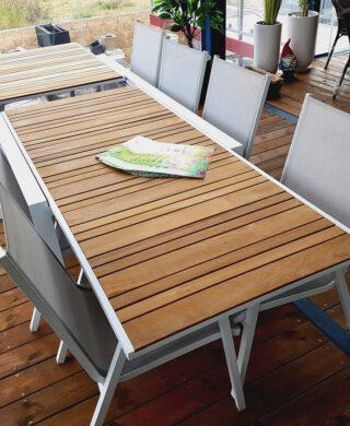 """שולחן אלומיניום דגם שוהם 200ס""""מ נפתח ל320 ס""""מ כולל 6 כסאות"""