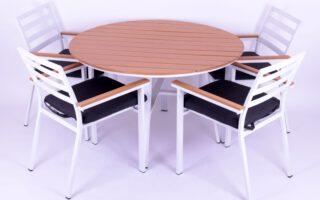 שולחן עגול וכיסאות דגם ברוז' אלומיניום