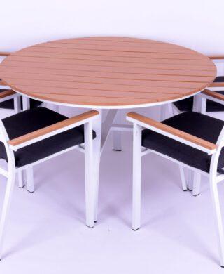 שולחן עגול וכיסאות גדם ברוז' אלומיניום