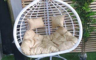 ערסל זוגי לגינה דמוי במבוק צבע לבן  דגם לירוי