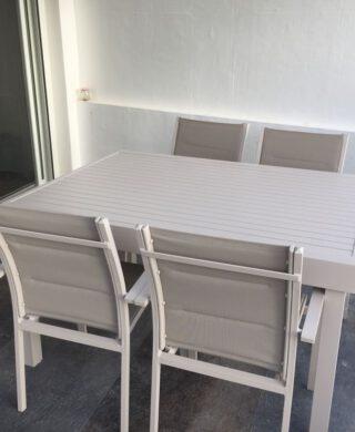 שולחן 135/270 אלומיניום כולל 4 כסאות דגם לירון