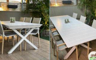 """שולחן אלומיניום נפתח לגינה דגם סוסיאדד 100-216/297ס""""מ כולל 6 כסאות מרופדים צבע לבן"""
