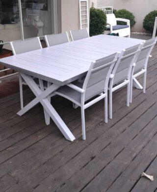 """שולחן אלומיניום נפתח לגינה דגם סוסיאדד 100-216/297ס""""מ כולל 6 כסאות מרופדים"""