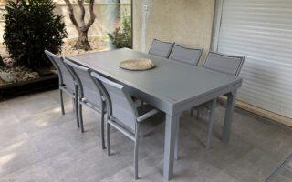 """שולחן אלומיניום נפתח לגינה 200/320 ס""""מ כולל 6 כסאות אפור סילבר"""