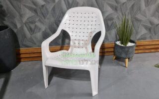 כיסא חוף פלסטיק מיקונוס צבע לבן