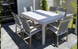 שולחן 135/270 אלומיניום כולל 4 כסאות דגם לירון צבע לבן