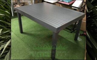 שולחן 135/270 אלומיניום כולל 4 כסאות דגם לירון צבע אפור כהה