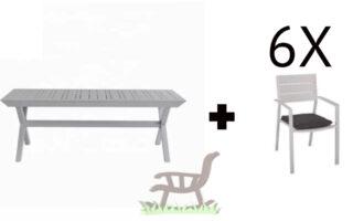 """שולחן אלומיניום נפתח לגינה דגם סוסיאדד 100-216/297ס""""מ כולל 6 כסאות 100% אלומיניום וכרית"""