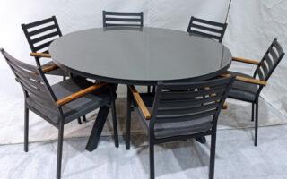 """שולחן אלומיניום קוטר 160 ס""""מ כולל 6 כסאות דגם עדי"""